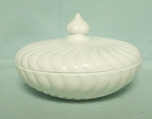 "Milkglass Fostoria Colony Pattern 7"" Covered Candy Dish - Product Image"