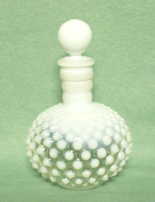 Moonstone Opalescent Hobnail Perfume Bottle & Stopper - Product Image