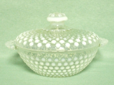 Moonstone Opalescent Hobnail Candy Jar & Cover - Product Image