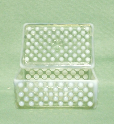 Moonstone Opalescent Hobnail Cigarette Box & Cover - Product Image