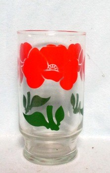 "50s Anchor Hocking Red Foxy Flowers 5 1/4"" Water Glass - Product Image"