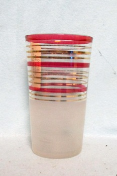 "50s Deco A.H..Red and Gold Striped 4 3/4"" Tumbler. - Product Image"
