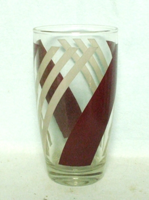 50s Deco Anchor Hocking Burgandy & White Candy Stripe Water Glass - Product Image
