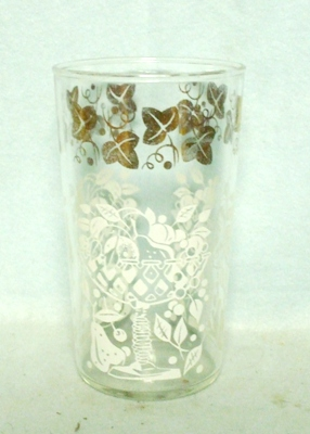 "50s Deco Anchor Hocking Gold Ivy 5 1/2""Water Glass - Product Image"