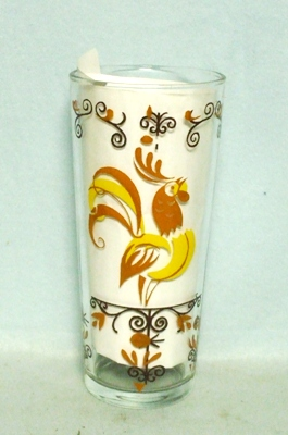 50s Deco Brown & Yellow Chicken Iced Tea Glass - Product Image