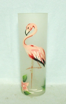 50s Deco Frosted Hand Painted Pink Flamingo Slim Jim Glass - Product Image