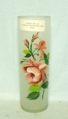 50s Deco Frosted Hand Painted Pink Roses Slim Jim Glass - Product Image