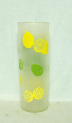 50s Deco Frosted Lemon & Lime Slim Jim Glass - Product Image