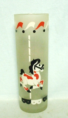 50s Deco Frosted Spotted Pony on Carousel Slim Jim Glass - Product Image