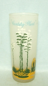"50s Deco Frosted ""Blakely Oil Century Plant Cactus"" Iced Tea Glass - Product Image"