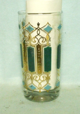 50s Deco Gold Filigree w Green & Turquoise Water Glass - Product Image