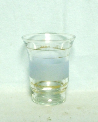 50s Deco Gold and White Wheat Water Glass - Product Image
