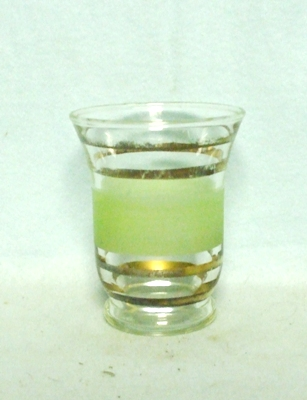 50s Deco Green Frosted Bell Shaped Juice Glass - Product Image
