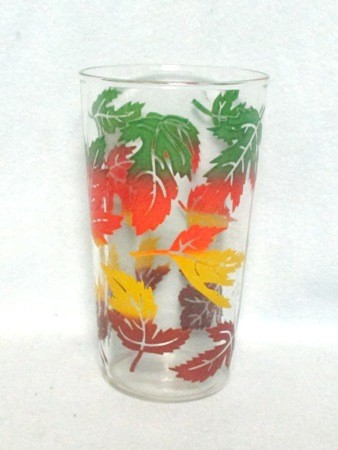 "50s Deco Green,Red, Yellow,and Brown Maple Leaf 4 3/4"" Tumbler. - Product Image"