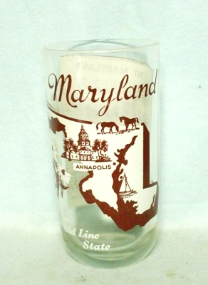50s Deco H.A. Maryland States & Songs Water Glass - Product Image
