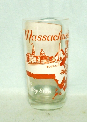50s Deco H.A. Massachusetts States & Songs Water Glass - Product Image