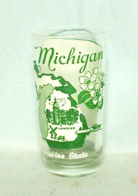 50s Deco H.A. Michigan States & Songs Water Glass - Product Image