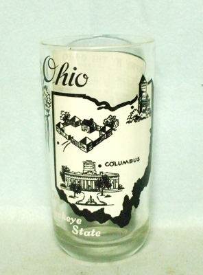 50s Deco H.A. Ohio States & Songs Water Glass - Product Image