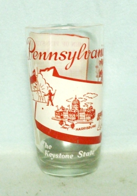 50s Deco H.A. Pennsyvania States & Songs Water Glass - Product Image