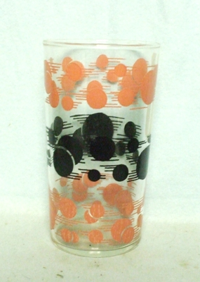 50s Deco H.A. Pink & Black Flying Dots Water Glass - Product Image