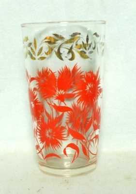50s Deco H.A. Red Daisy's w Gold Trim Water Glass - Product Image
