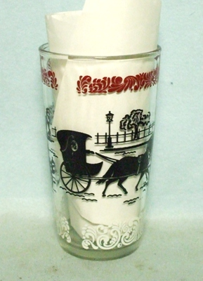 50s Deco H.A. Red,Black & White Transportation Water Glass - Product Image