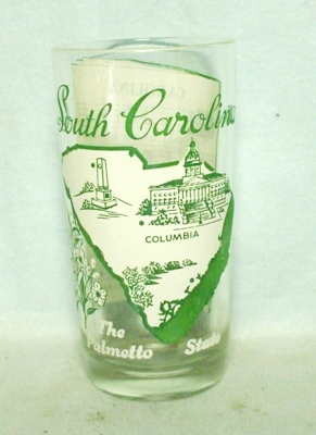 50s Deco H.A. South Carolina States & Songs Water Glass - Product Image