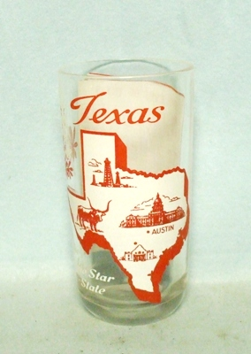 50s Deco H.A. Texas States & Songs Water Glass - Product Image