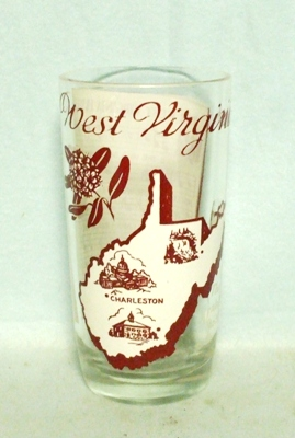 50s Deco H.A. West Virginia States & Songs Water Glass - Product Image