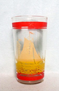 "50s Deco H.A.Red and Yellow Sailboats 4 3/4"" Tumbler. - Product Image"
