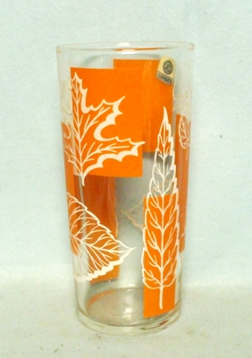 50s Deco Libbey Orange and White Iced Tea Tumbler. - Product Image
