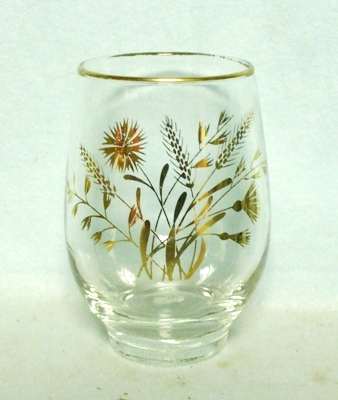 50s Deco Libbey Squat Golden Wheat Tumbler - Product Image
