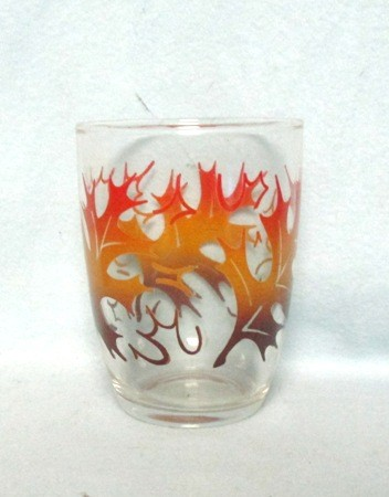"50s Deco Red, Yellow,and Brown Oak Leaf 4"" Tumbler. - Product Image"