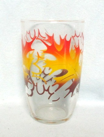 "50s Deco Red, Yellow,and Brown Oak Leaf 5"" Tumbler. - Product Image"