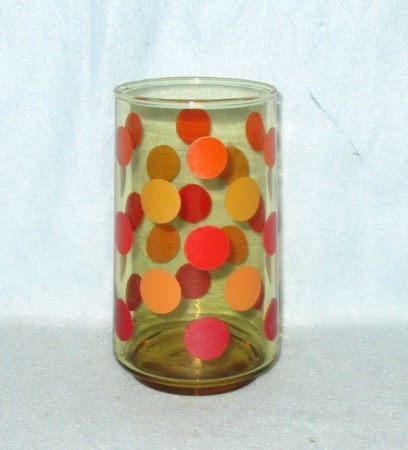 "50s Deco Red,and Orange Polka-Dot  4 3/4"" Tumbler. - Product Image"