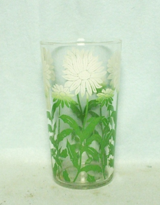 "50s Deco White Flowers 4 3/4"" Water Glass - Product Image"