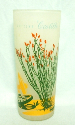 "50s DecoFrosted ""Blakely Oil Ocotillo Cactus"" Iced Tea Glass - Product Image"