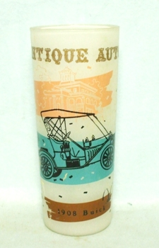 50s Frosted Antique Auto 1908 Buick Old Car Glass - Product Image
