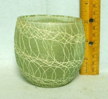 50s Olive Green Roly Poly Rubberized Spagetti String Glass - Product Image