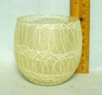 50s White Roly Poly Rubberized Spagetti String Glass - Product Image