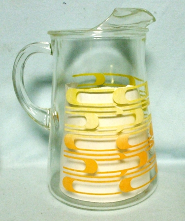 A.H. Yellow and Orange Horizontal Loops Water Pitcher w Ice Lip - Product Image