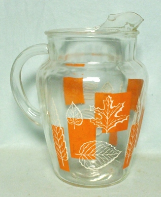 A.H. Blocks w Orange Leaves Pitcher w Ice Lip - Product Image