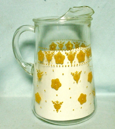 A.H. Butterfly Gold Pyrex Pattern Water Pitcher w Ice Lip - Product Image