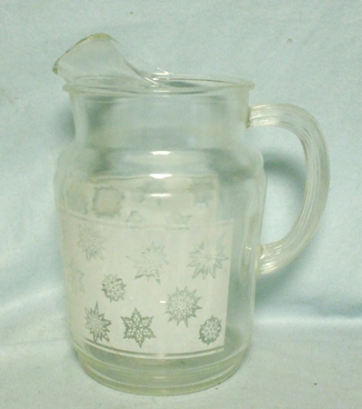 A.H. Clear w White Panel w Snowflakes Pitcher w Ice Lip - Product Image