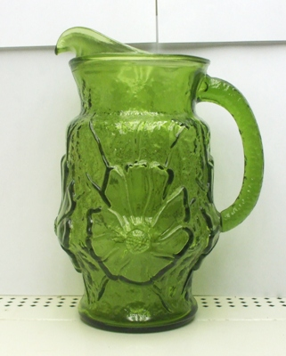 A.H. Dark Green Rain Flower Pitcher Pitcher w Ice Lip - Product Image