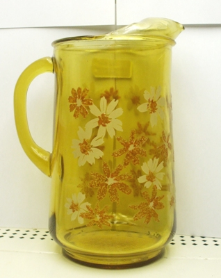 A.H. Finlandia Amber Misty Daisy Pitcher w Ice Lip - Product Image