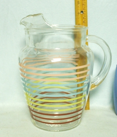 A.H. Pink,Blue,Yellow & Red Striped Pitcher w Ice Lip - Product Image