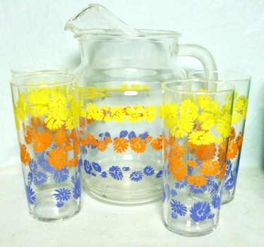 A.H. Pitcher with Yellow,Orange,& Blue Daisy's - Product Image