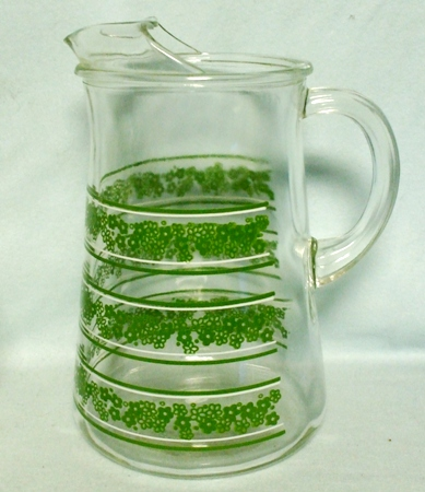 A.H. Spring Blossom Pyrex Pattern Water Pitcher w Ice Lip - Product Image