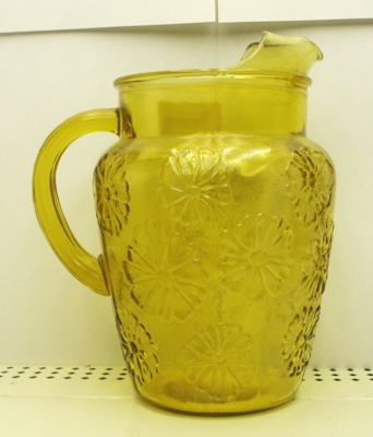 A.H.Amber Embossed Daisys Pitcher w Ice Lip - Product Image